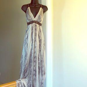 BEBE sz S snake skin print silk dress maxi NWT
